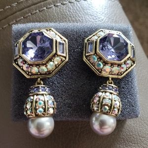"Heidi Daus Lavish Layers Earrings ""Amythest""."